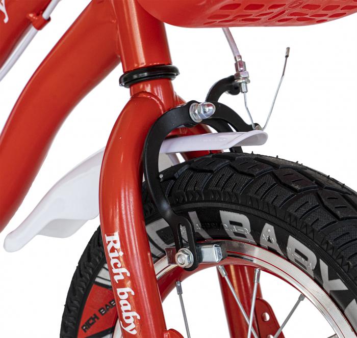 Bicicleta Fete 2-4 ani, Roti 12 Inch, C-Brake, Roti Ajutatoare, Rich Baby CSR12/04A, Cadru Rosu cu Design Alb [4]