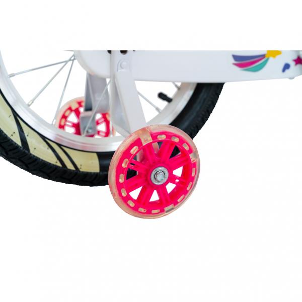 """Bicicleta fete Rich Baby R1808A, roata 18"""", C-Brake otel, roti ajutatoare cu LED, 5-7 ani, fucsia/alb 4"""