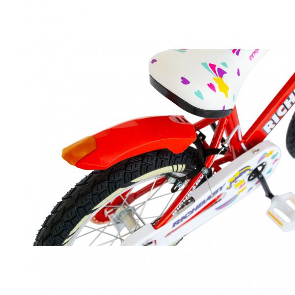"""Bicicleta fete Rich Baby R1808A, roata 18"""", C-Brake otel, roti ajutatoare cu LED, 5-7 ani, rosu/alb 5"""