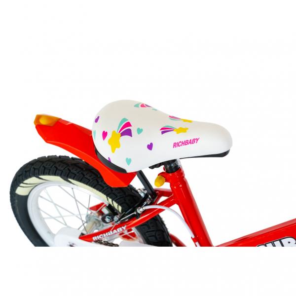 """Bicicleta fete Rich Baby R1808A, roata 18"""", C-Brake otel, roti ajutatoare cu LED, 5-7 ani, rosu/alb 3"""