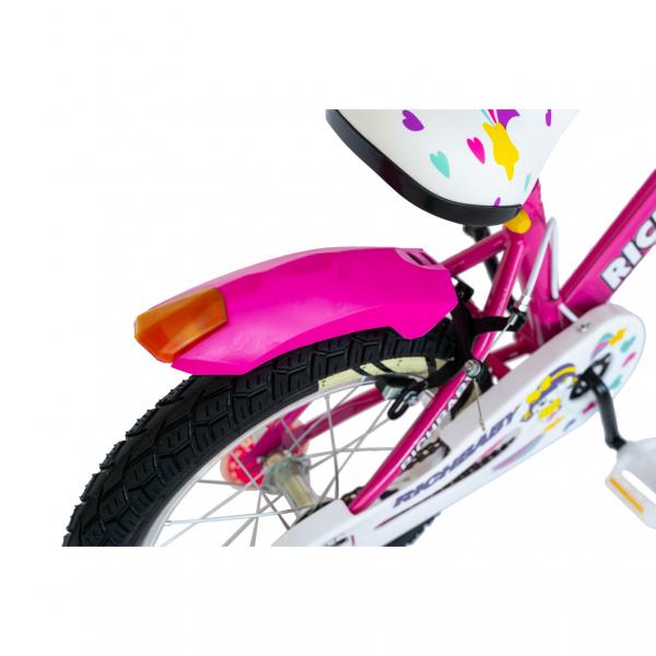 """Bicicleta fete Rich Baby R1808A, roata 18"""", C-Brake otel, roti ajutatoare cu LED, 5-7 ani, fucsia/alb 3"""