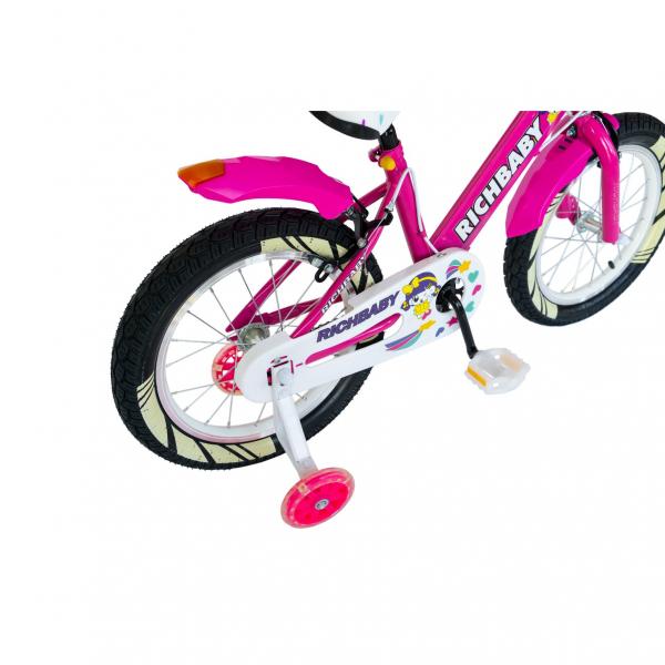 """Bicicleta fete Rich Baby R1808A, roata 18"""", C-Brake otel, roti ajutatoare cu LED, 5-7 ani, fucsia/alb 1"""