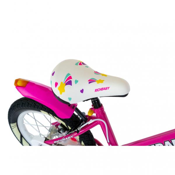 """Bicicleta fete Rich Baby R1808A, roata 18"""", C-Brake otel, roti ajutatoare cu LED, 5-7 ani, fucsia/alb 5"""