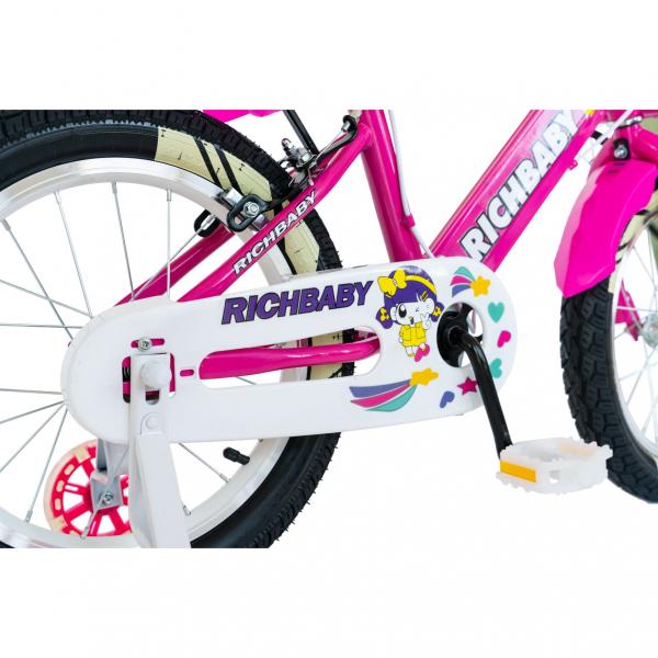 """Bicicleta fete Rich Baby R1808A, roata 18"""", C-Brake otel, roti ajutatoare cu LED, 5-7 ani, fucsia/alb 2"""