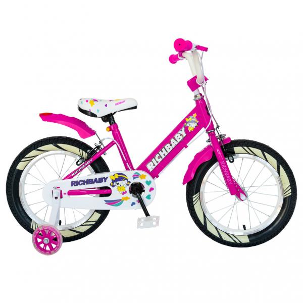 """Bicicleta fete Rich Baby R1808A, roata 18"""", C-Brake otel, roti ajutatoare cu LED, 5-7 ani, fucsia/alb 0"""