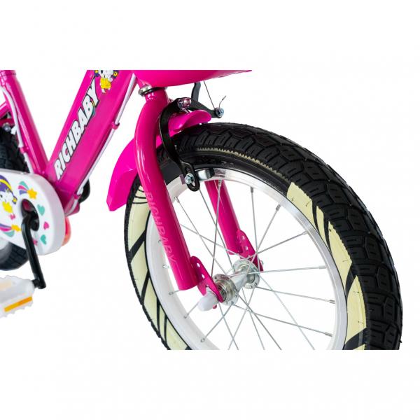 """Bicicleta fete Rich Baby R1808A, roata 18"""", C-Brake otel, roti ajutatoare cu LED, 5-7 ani, fucsia/alb 6"""