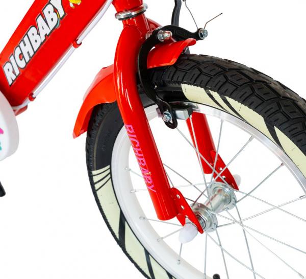 """Bicicleta fete Rich Baby R1808A, roata 18"""", C-Brake otel, roti ajutatoare cu LED, 5-7 ani, rosu/alb 6"""