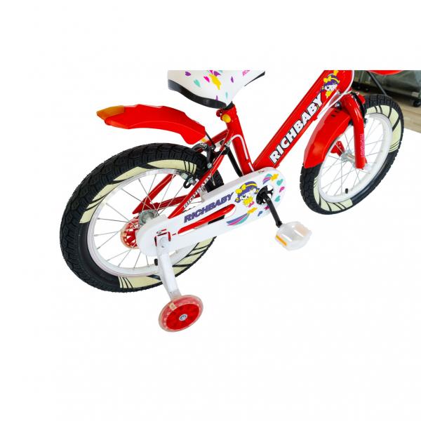 """Bicicleta fete Rich Baby R1808A, roata 18"""", C-Brake otel, roti ajutatoare cu LED, 5-7 ani, rosu/alb 4"""