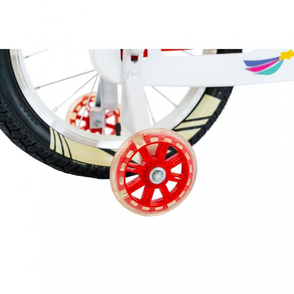 """Bicicleta fete Rich Baby R1808A, roata 18"""", C-Brake otel, roti ajutatoare cu LED, 5-7 ani, rosu/alb 2"""