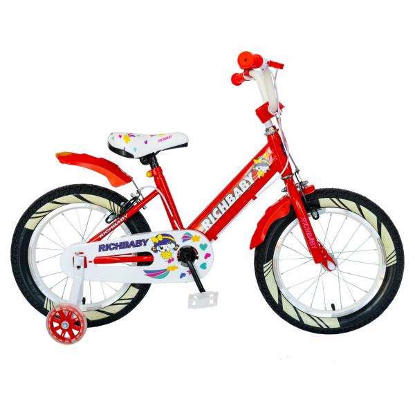 """Bicicleta fete Rich Baby R1808A, roata 18"""", C-Brake otel, roti ajutatoare cu LED, 5-7 ani, rosu/alb 0"""