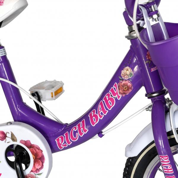 "Bicicleta fete Rich Baby T1205C, roata 12"", C-Brake,  roti ajutatoare, 2-4 ani, mov/alb 4"