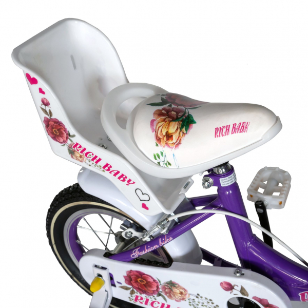 "Bicicleta fete Rich Baby T1205C, roata 12"", C-Brake,  roti ajutatoare, 2-4 ani, mov/alb 1"