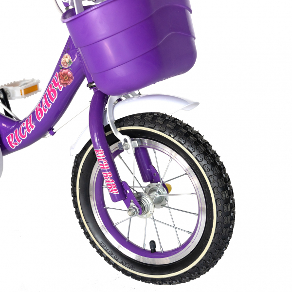 "Bicicleta fete Rich Baby T1205C, roata 12"", C-Brake,  roti ajutatoare, 2-4 ani, mov/alb 5"