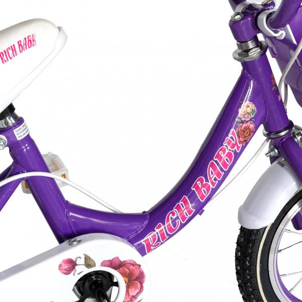 "Bicicleta fete Rich Baby T1205C, roata 12"", C-Brake,  roti ajutatoare, 2-4 ani, mov/alb 3"