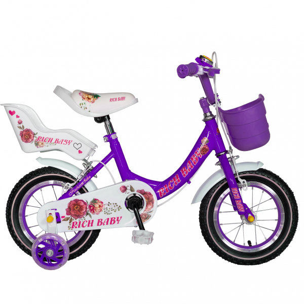 "Bicicleta fete Rich Baby T1205C, roata 12"", C-Brake,  roti ajutatoare, 2-4 ani, mov/alb 0"