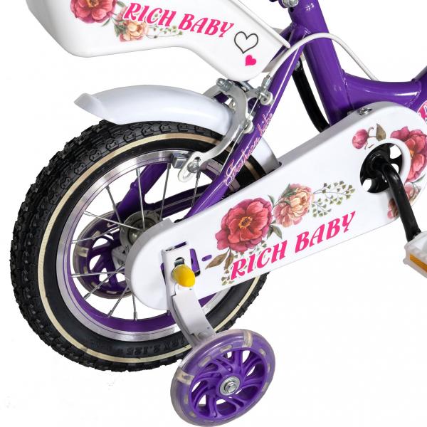 "Bicicleta fete Rich Baby T1205C, roata 12"", C-Brake,  roti ajutatoare, 2-4 ani, mov/alb 2"