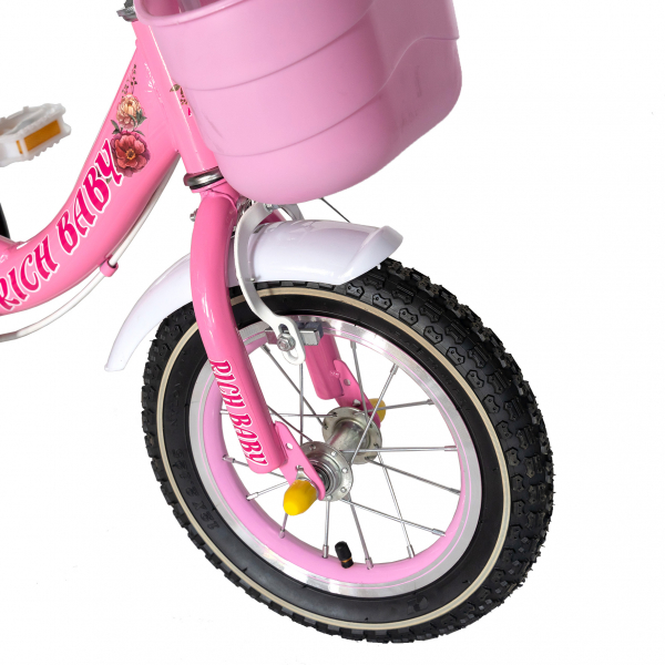 "Bicicleta fete Rich Baby T1205C, roata 12"", C-Brake,  roti ajutatoare, 2-4 ani, roz/alb [4]"