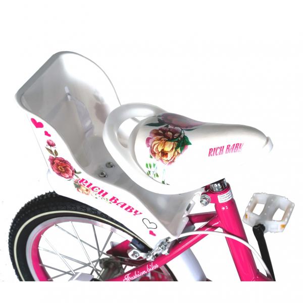 "Bicicleta fete Rich Baby T1605C, roata 16"", C-Brake,  roti ajutatoare, 4-6 ani, fucsia/alb [1]"