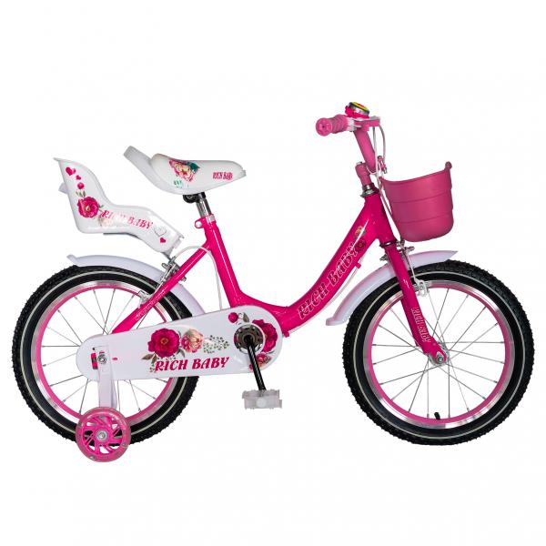 "Bicicleta fete Rich Baby T1605C, roata 16"", C-Brake,  roti ajutatoare, 4-6 ani, fucsia/alb [0]"