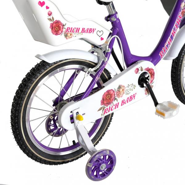 "Bicicleta fete Rich Baby T1605C, roata 16"", C-Brake,  roti ajutatoare, 4-6 ani, mov/alb [2]"