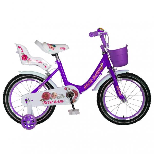 "Bicicleta fete Rich Baby T1605C, roata 16"", C-Brake,  roti ajutatoare, 4-6 ani, mov/alb [0]"