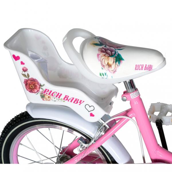 "Bicicleta fete Rich Baby T1605C, roata 16"", C-Brake,  roti ajutatoare, 4-6 ani, roz/alb [1]"
