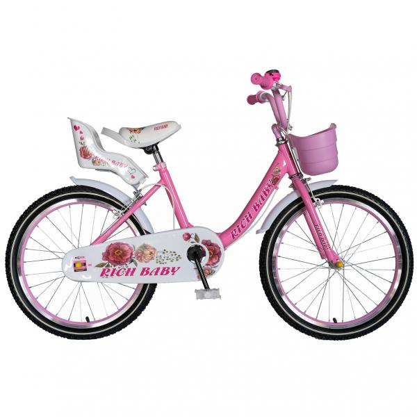 """Bicicleta fete Rich Baby T2005C, roata 20"""", C-Brake, 7-10 ani, roz/alb [0]"""