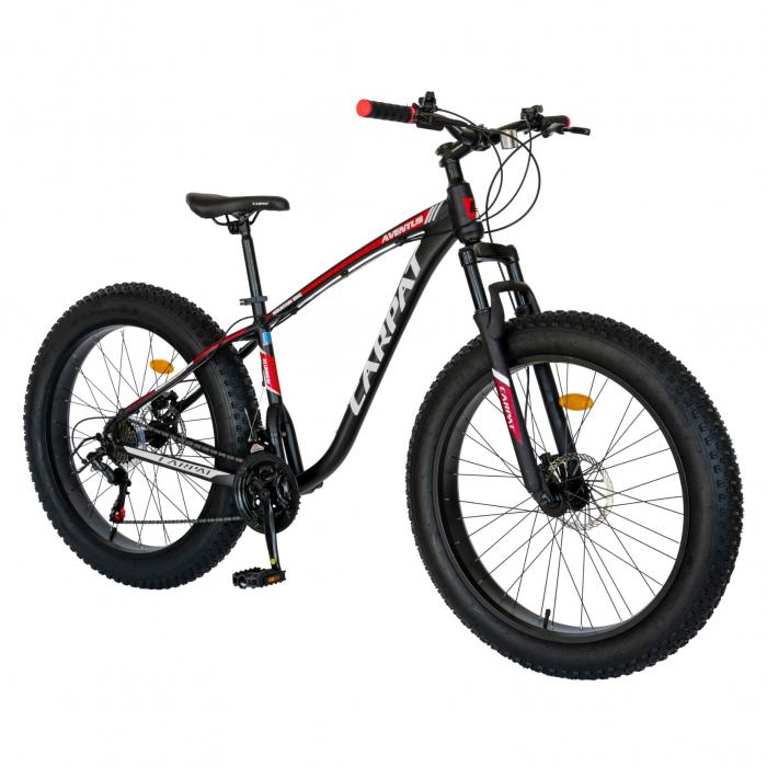 Bicicleta MTB-Fat Bike, Shimano SL-TX30 21 Viteze, Cadru Aluminiu 6061, Roti 26 Inch, Frane Hidraulice Disc, Carpat Aventus CSC26/00H, Negru cu Design Gri/Rosu [1]