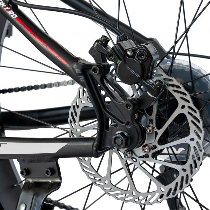 Bicicleta MTB-Fat Bike, Shimano SL-TX30 21 Viteze, Cadru Aluminiu 6061, Roti 26 Inch, Frane Hidraulice Disc, Carpat Aventus CSC26/00H, Negru cu Design Gri/Rosu [5]