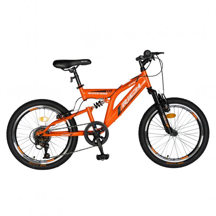 Bicicleta MTB-FS, Saiguan Revoshift 6 Viteze, Roti 20 Inch, Frane V-Brake, RICH CSR20/49A, Cadru Portocaliu cu Design Negru [0]