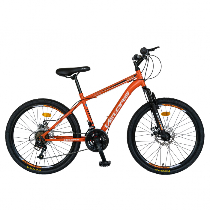Bicicleta MTB-HT, Saiguan Revoshift 18 Viteze, Roti 24 Inch, Frane Disc, Velors Poseidon CSV24/09A, Portocaliu cu Design Alb/Negru [0]