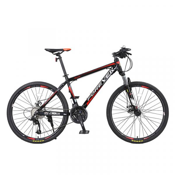 """Bicicleta MTB-HT Forever F24T1B, roata 24"""", cadru aluminiu, 27 viteze, culoare negru/rosu 0"""