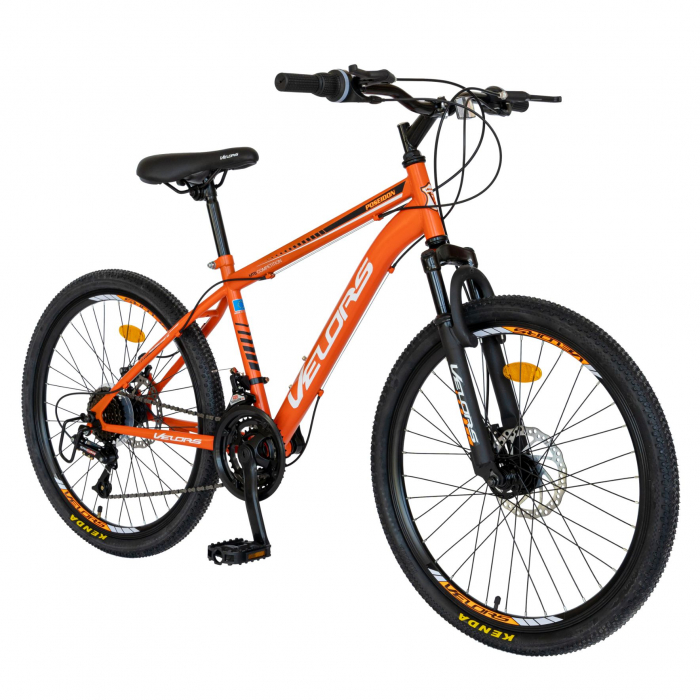 Bicicleta MTB-HT, Saiguan Revoshift 18 Viteze, Roti 24 Inch, Frane Disc, Velors Poseidon CSV24/09A, Portocaliu cu Design Alb/Negru [1]