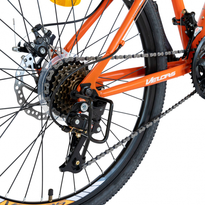 Bicicleta MTB-HT, Saiguan Revoshift 18 Viteze, Roti 24 Inch, Frane Disc, Velors Poseidon CSV24/09A, Portocaliu cu Design Alb/Negru [3]