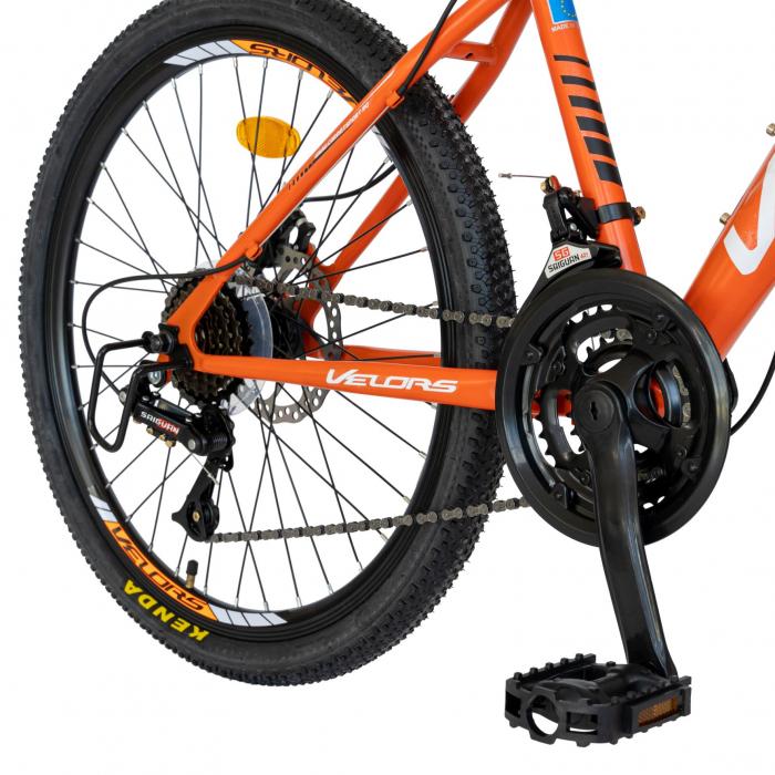 Bicicleta MTB-HT, Saiguan Revoshift 18 Viteze, Roti 24 Inch, Frane Disc, Velors Poseidon CSV24/09A, Portocaliu cu Design Alb/Negru [7]