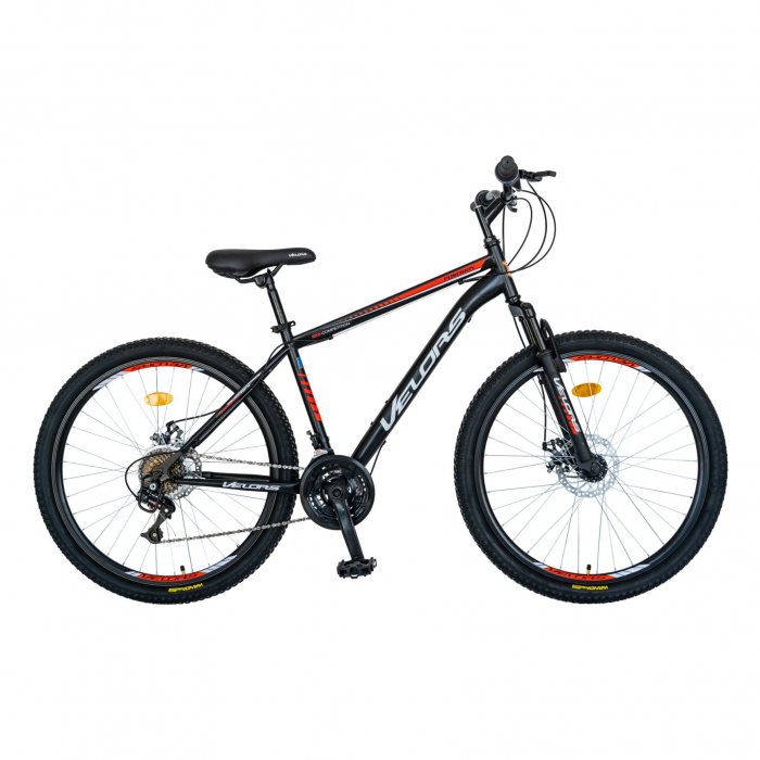 Bicicleta MTB-HT, Schimbator Saiguan, 18 Viteze, Roti 26 Inch, Frane pe Disc, Velors Poseidon CSV26/09A, Negru cu Design Rosu [0]