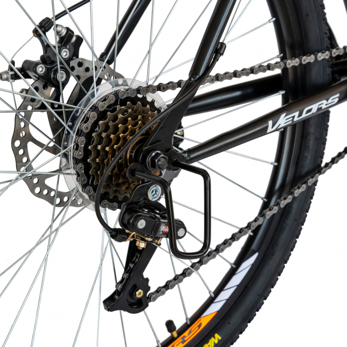 Bicicleta MTB-HT, Schimbator Saiguan, 18 Viteze, Roti 26 Inch, Frane pe Disc, Velors Poseidon CSV26/09A, Negru cu Design Portocaliu [5]