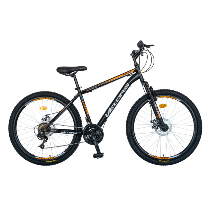Bicicleta MTB-HT, Schimbator Saiguan, 18 Viteze, Roti 26 Inch, Frane pe Disc, Velors Poseidon CSV26/09A, Negru cu Design Portocaliu [0]