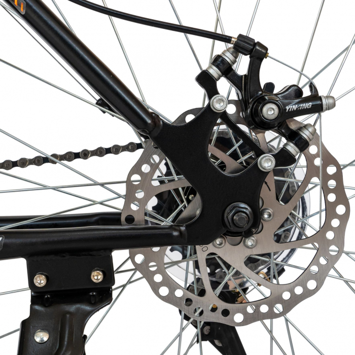 Bicicleta MTB-HT, Schimbator Saiguan, 18 Viteze, Roti 26 Inch, Frane pe Disc, Velors Poseidon CSV26/09A, Negru cu Design Portocaliu [7]