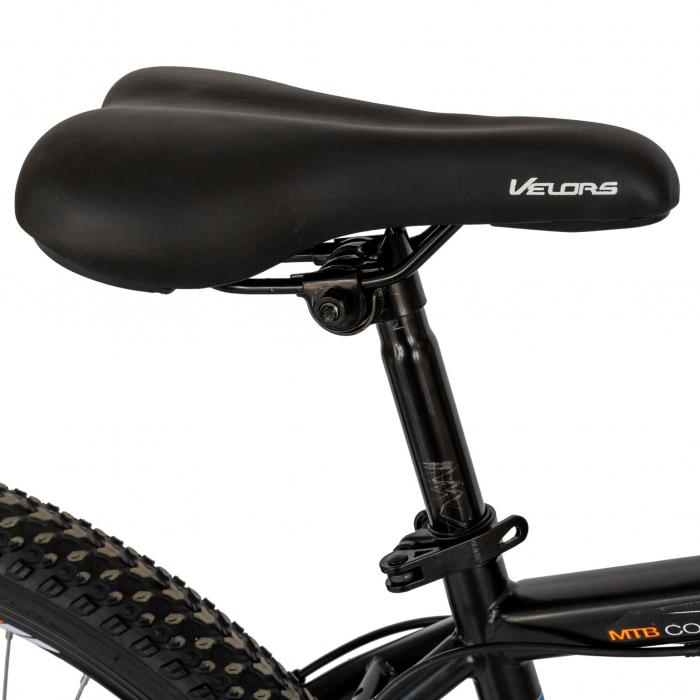 Bicicleta MTB-HT, Schimbator Saiguan, 18 Viteze, Roti 26 Inch, Frane pe Disc, Velors Poseidon CSV26/09A, Negru cu Design Portocaliu [6]
