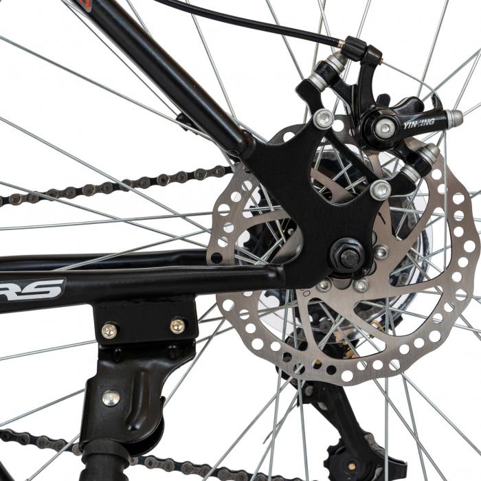 Bicicleta MTB-HT, Schimbator Saiguan, 18 Viteze, Roti 26 Inch, Frane pe Disc, Velors Poseidon CSV26/09A, Negru cu Design Rosu [5]