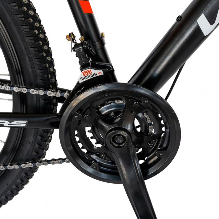 Bicicleta MTB-HT, Schimbator Saiguan, 18 Viteze, Roti 26 Inch, Frane pe Disc, Velors Poseidon CSV26/09A, Negru cu Design Rosu [4]