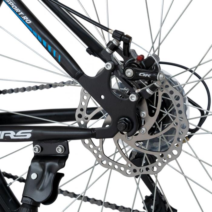 Bicicleta MTB-HT, Schimbator Saiguan, 18 Viteze, Roti 27.5 Inch, Frane pe Disc,Velors Poseidon CSV27/09A, Negru cu Design Albastru [3]