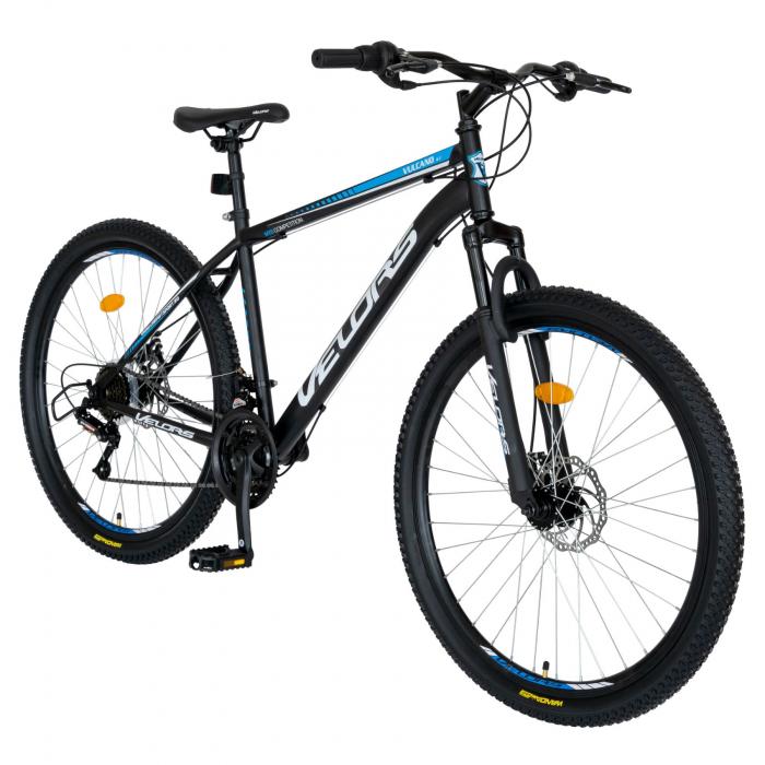 Bicicleta MTB-HT, Schimbator Saiguan, 18 Viteze, Roti 27.5 Inch, Frane pe Disc,Velors Poseidon CSV27/09A, Negru cu Design Albastru [1]