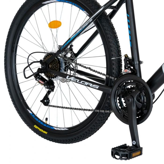 Bicicleta MTB-HT, Schimbator Saiguan, 18 Viteze, Roti 27.5 Inch, Frane pe Disc,Velors Poseidon CSV27/09A, Negru cu Design Albastru [2]