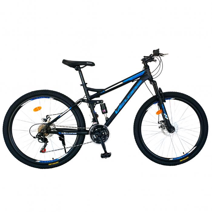 Bicicleta MTB-HT, Shimano Tourney TZ500D, 18 Viteze, Roti 27.5 Inch, Frane pe Disc, Velors CSV27/60D, Negru cu Design Albastru [0]