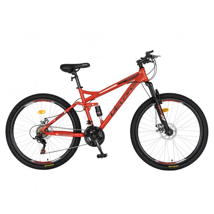 Bicicleta MTB-HT, Shimano Tourney TZ500D, 18 viteze, Roti 27.5 Inch, Frane pe Disc, Velors CSV27/60D, Rosu cu Design Negru [0]