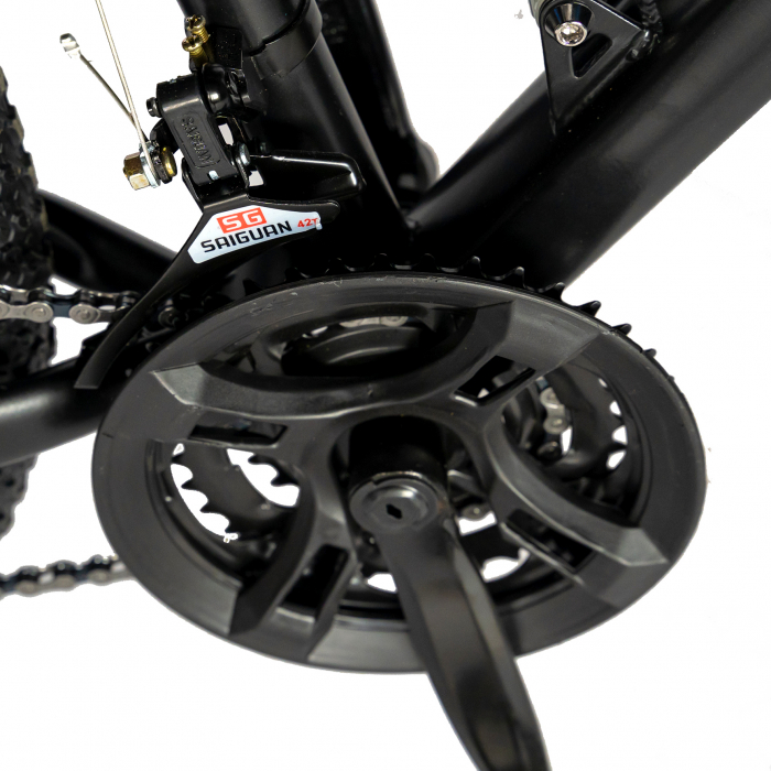 Bicicleta MTB-HT, Shimano Tourney TZ500D, 18 Viteze, Roti 27.5 Inch, Frane pe Disc, Velors CSV27/60D, Negru cu Design Albastru [3]