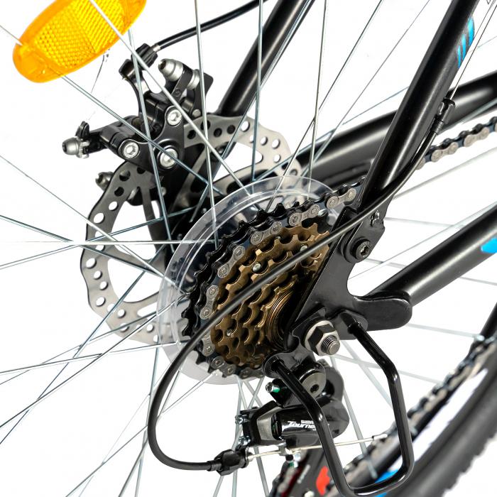 Bicicleta MTB-HT, Shimano Tourney TZ500D, 18 Viteze, Roti 27.5 Inch, Frane pe Disc, Velors CSV27/60D, Negru cu Design Albastru [2]