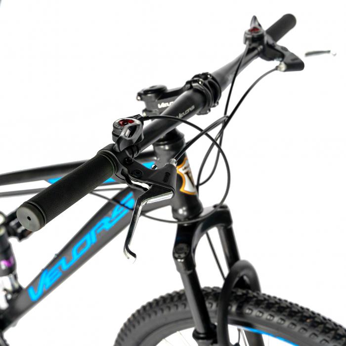 Bicicleta MTB-HT, Shimano Tourney TZ500D, 18 Viteze, Roti 27.5 Inch, Frane pe Disc, Velors CSV27/60D, Negru cu Design Albastru [7]